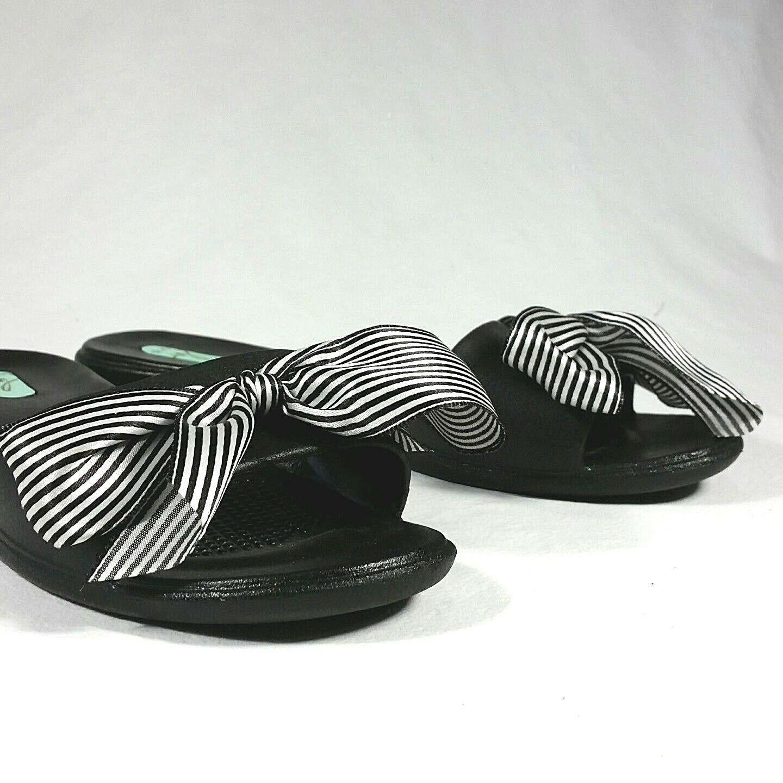Oka-B Bee Okabashi Sandal Sz S 5.5 6.5 Women Slides Black Stripe Bow Madison USA