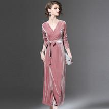 Xy v neck wrap velvet dresses 2018 winter women mid calfd dresses long sleeve tie waist thumb200