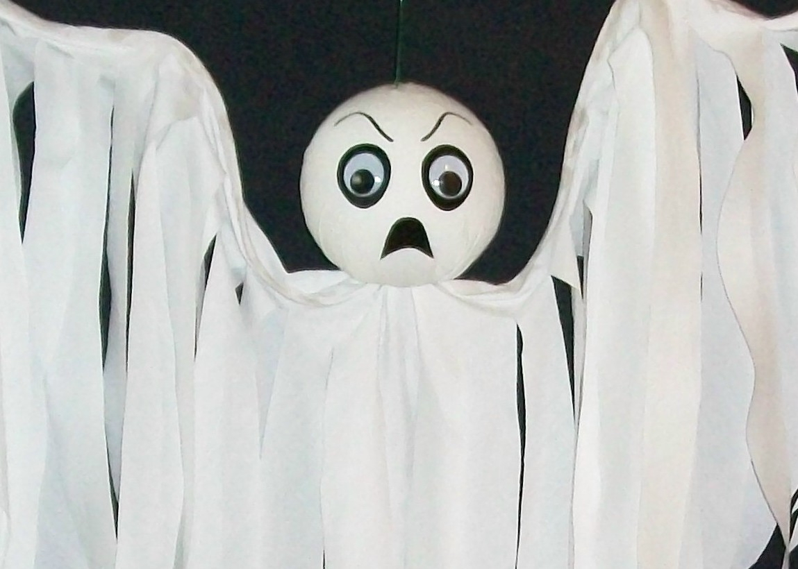 Halloween Hanging Ghost Flyer SPOOKY, Hand-Crafted
