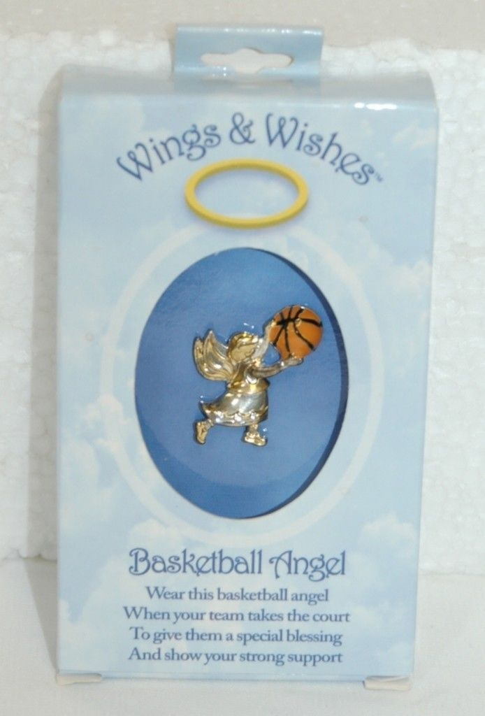 DM Merchandising Wings Wishes Basketball Angel Gold Silver Colored Holding Ball