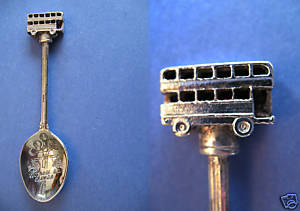 VICTORIA BC. Souvenir Collector Spoon DOUBLEDECKER BUS Collectible Figural