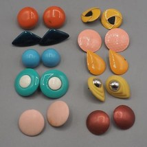 Vintage Lot of 10 Chunky Colorful 1980's Earrings Clip On & Post image 1