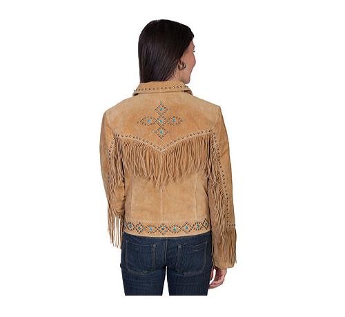 QASTAN Women's New Beige Fringe/Silver Studs Suede Cow Leather Jacket WWJ16A image 2