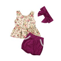 Toddler Newborn Baby Girls Floral Outfit Set Flower Vest Ruffle Tops + L... - $10.99