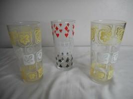 3 Vintage MCM playing cards / floral Glassware Tumbler Glasses - $17.81