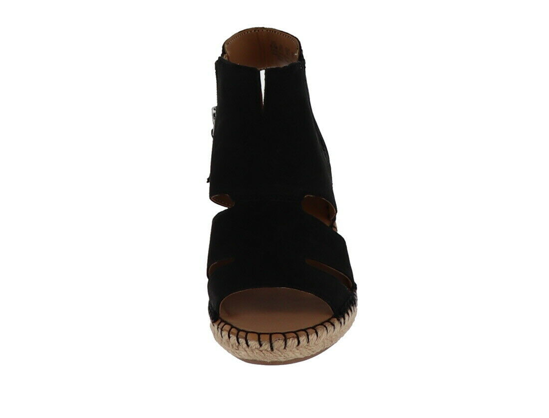 Franco Sarto Leather Cut-out Espadrille Wedges Nola Black 6M NEW A288518 image 4