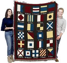 70x53 Nautical Flags Sailing Boat Ocean Sea Afghan Throw Blanket - $60.00