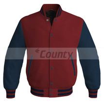 Super New Letterman Baseball College Bomber Jacket Sports Maroon Navy Bl... - $49.98+