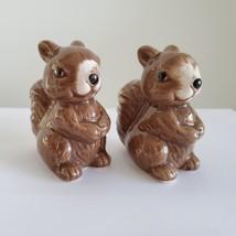 "Squirrel Salt & Pepper Shakers, Ceramic 2.5"" Woodland Animal Kitchen Accessory"