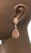 "2"" Long Vintage Inspired Clip On Earrings Peach Rhinestones Drag Queen, Pageant  - $15.20"
