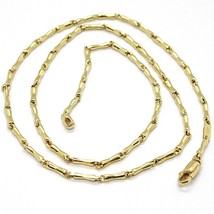 18K YELLOW GOLD CHAIN BENT BONE TUBE LINK 2 MM, 18 INCHES, MADE IN ITALY  image 1
