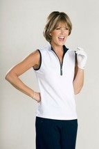 Stylish Women's Golf & Casual White Sleeveless Mock Polo Top, Rhinestone... - $29.95