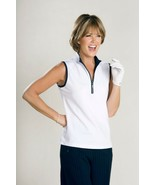 Stylish Women's Golf & Casual White Sleeveless Mock Polo Top, Rhinestone... - $29.95