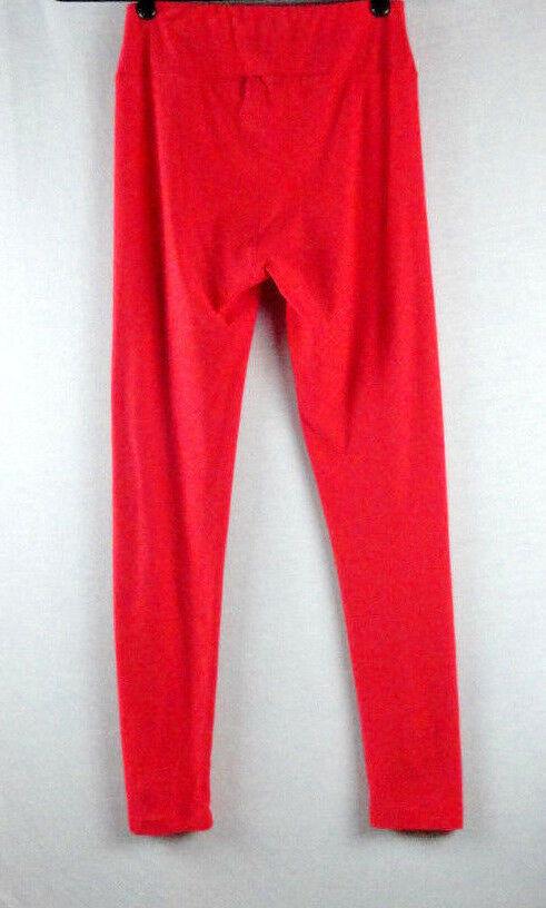 LuLaRoe One Size OS Leggings Solid Orange / Red  (Worn 1x) image 2
