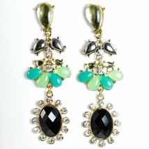 "Mode Mint Green & Black Lucite Bead 2.5"" Drop Post Dangle Earrings New with Tag image 3"
