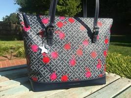 Tommy Hilfiger Womens Oversize Tote Bag Handbag Purse Large Blue Cherry NEW $99 - $69.00
