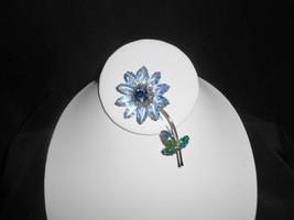 Weiss Rhinestone Pin Brooch Flower Blue Marquise Open Back - $42.75