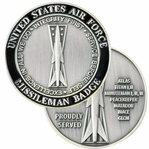 "Air Force Missileman Badge Proudly Served 1.75"" Challenge Coin - $28.49"