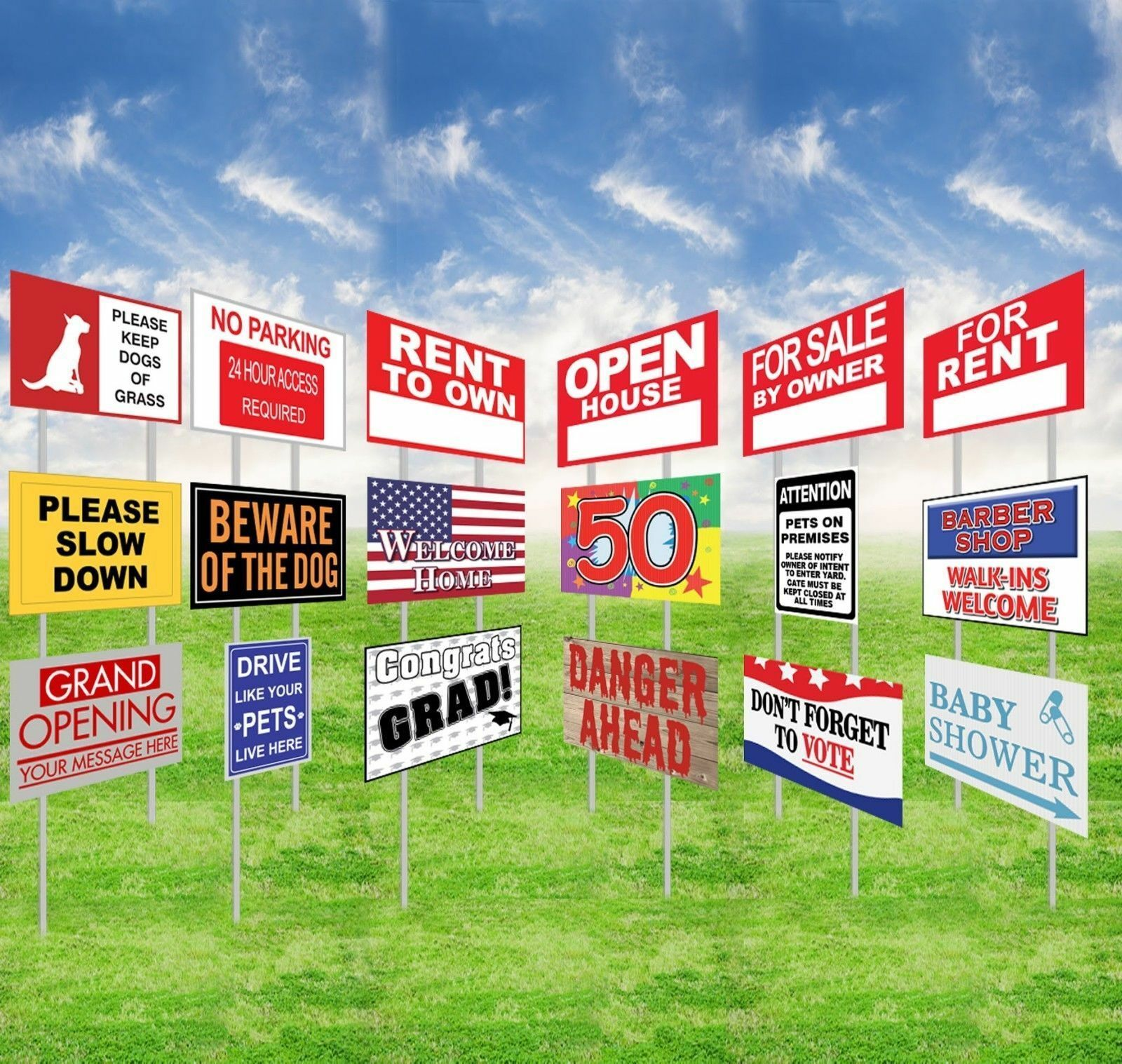 house for sale by owner yard lawn sign garden decor advertising corflute sign
