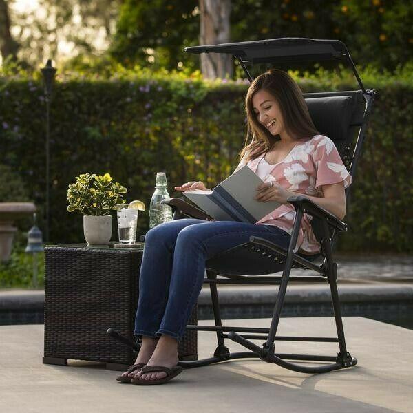 Folding Zero Gravity Rocking Chair w Large Canopy & Headrest Porch Outdoor Patio