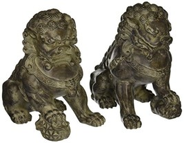 "ORIENTAL FURNITURE 9"" Sitting Foo Dog Statues Set of TwoB - $108.65"