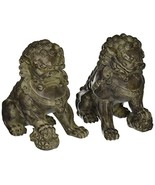 "ORIENTAL FURNITURE 9"" Sitting Foo Dog Statues Set of TwoB - $108.65"