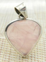 Sterling Silver .925 Pink Agate Heart Necklace Pendant - $49.50