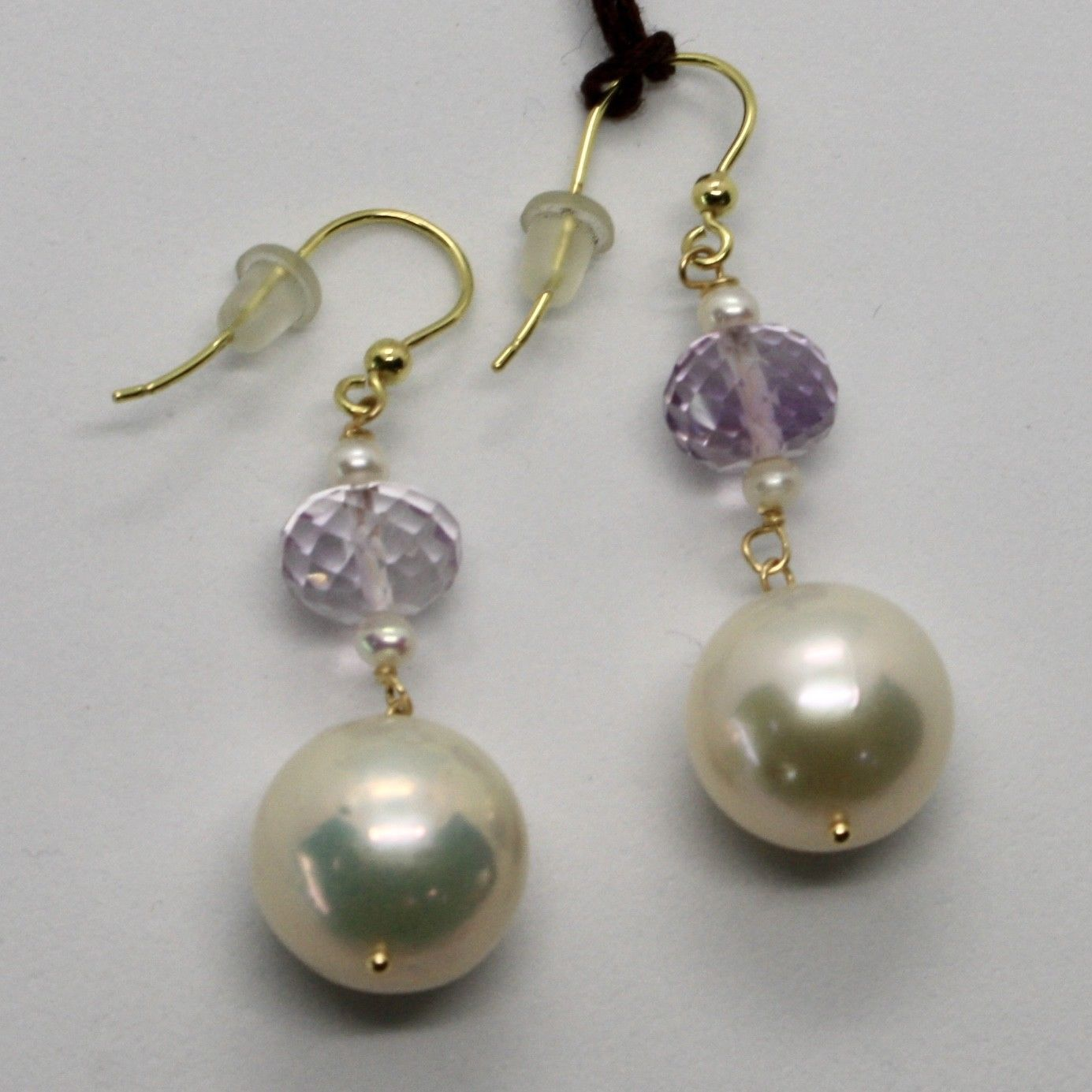 YELLOW GOLD EARRINGS 18KT 750 PEARLS FRESH WATER AND AMETHYST PINK MADE IN ITALY
