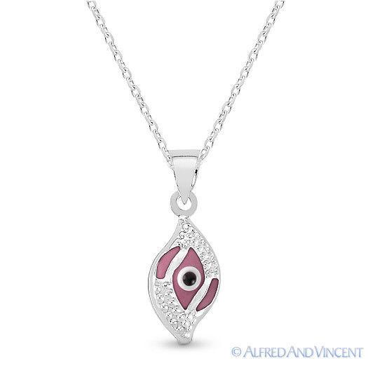 Evil Eye Glass Bead Greek Turkish Nazar Hamsa Pendant Sterling Silver Necklace image 10