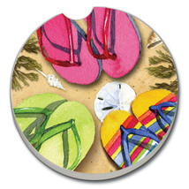 Three Flip Flops - Single Coaster for Your Car - $8.50