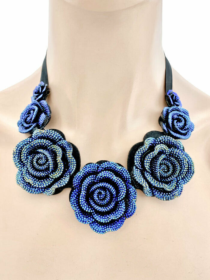 Primary image for Iridescent Blue Rhinestones Flowers Fake Necklace & Earring Casual Chic Hip Hop