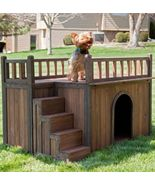 Dog House Pet Wood Kennel Small Shelter Deck Raised Floor Staircase Outd... - $136.49