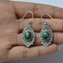 Handmade 925 Solid Sterling Silver Jewelry Malachite Gemstone Dangle Ear... - $14.91