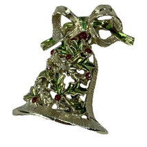 Vintage Gerry's enameled Christmas Brooch Bell Dangle Bow - $21.46