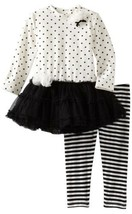 Kate Mack Baby Girls Black White Size 12 Months 2pc Dress+Leggings Tutu ... - $25.26