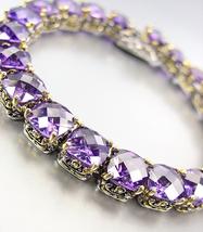 "Designer Silver Gold Balinese Purple Amethyst CZ Crystals Links 7"" Brace... - $1.526,65 MXN"