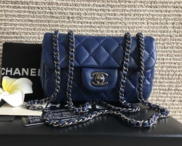 100% Auth Chanel Blue Studded Quilted Lambskin Mini Rectangular Flap Bag SHW