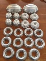 21 Assorted Shapes Jello/Custard molds, Aluminum,vintage - $15.00