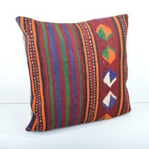 VINTAGE TURKISH HANDWOVEN STRIPED KILIM RUG DECORATIVE PILLOW COVER 20x... - $23.00