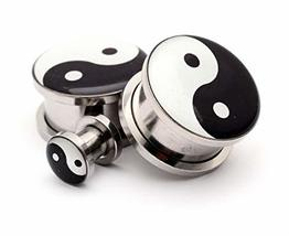 Pair of Screw on Picture Plugs Gauges Choose Style and Size (Yin Yang, 1... - $19.80