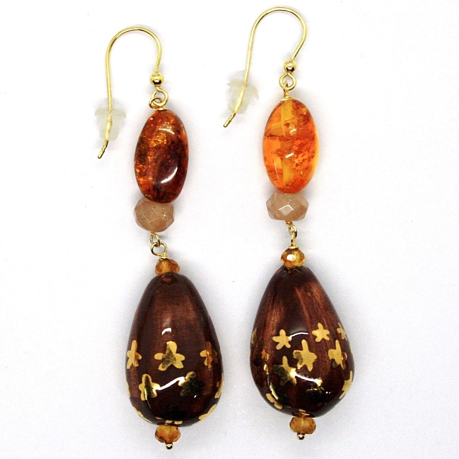 18K YELLOW GOLD EARRINGS AMBER CITRINE ADULARIA, POTTERY DROPS HAND PAINTED STAR