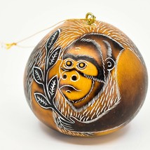 Handcrafted Carved Gourd Art Gorilla Zoo Animal Ornament Made in Peru