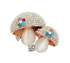 Women Gifts Fashion Mushroom Shaped Shining Crystal Brooches and Pins