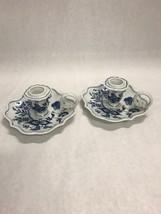 Pair Vintage BLUE DANUBE candlesticks square mark Japan 5.5 inch Mid Century - $48.51