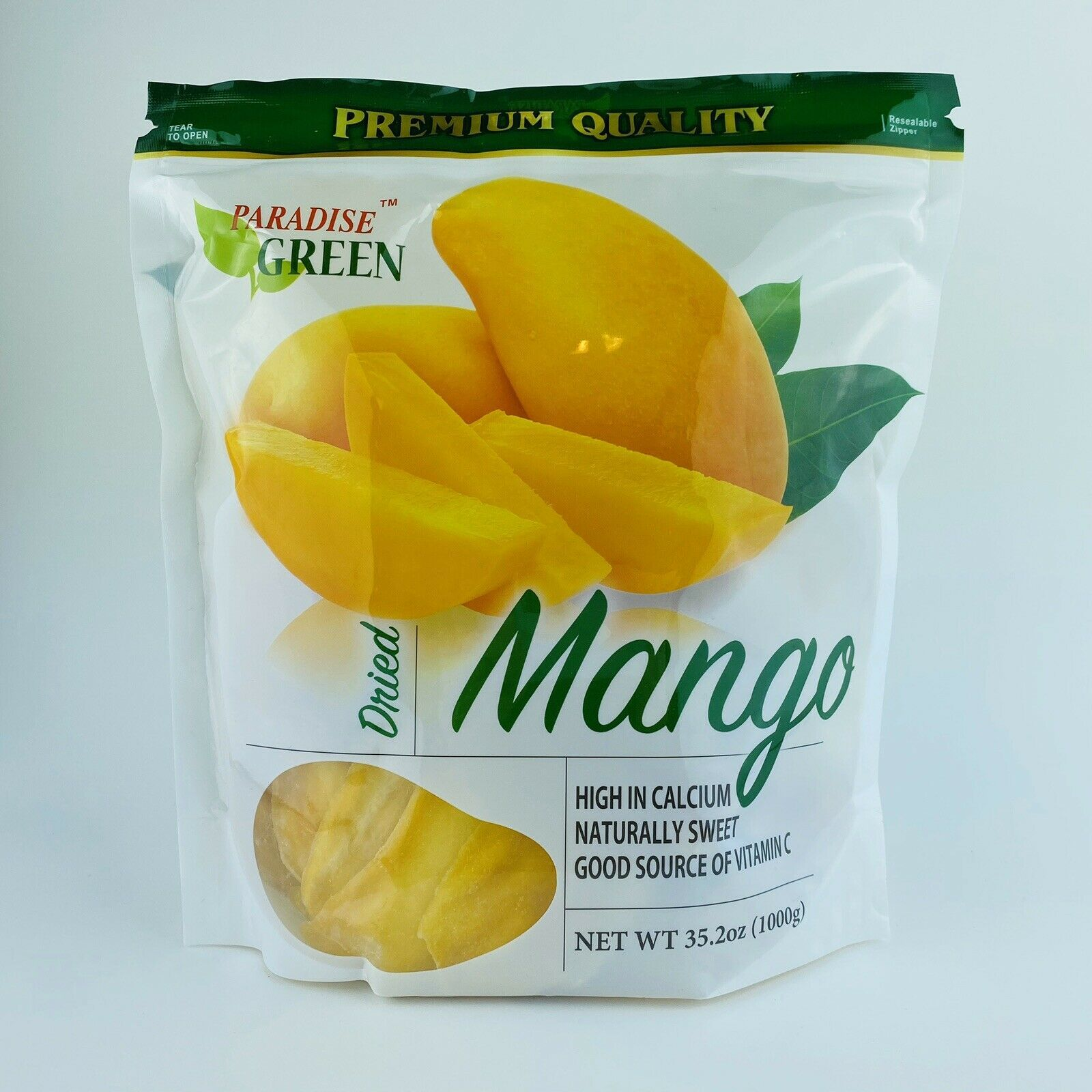 Primary image for 1 Bag Paradise Green Premium Dried Mango, 35.2 oz/1000 g Fresh