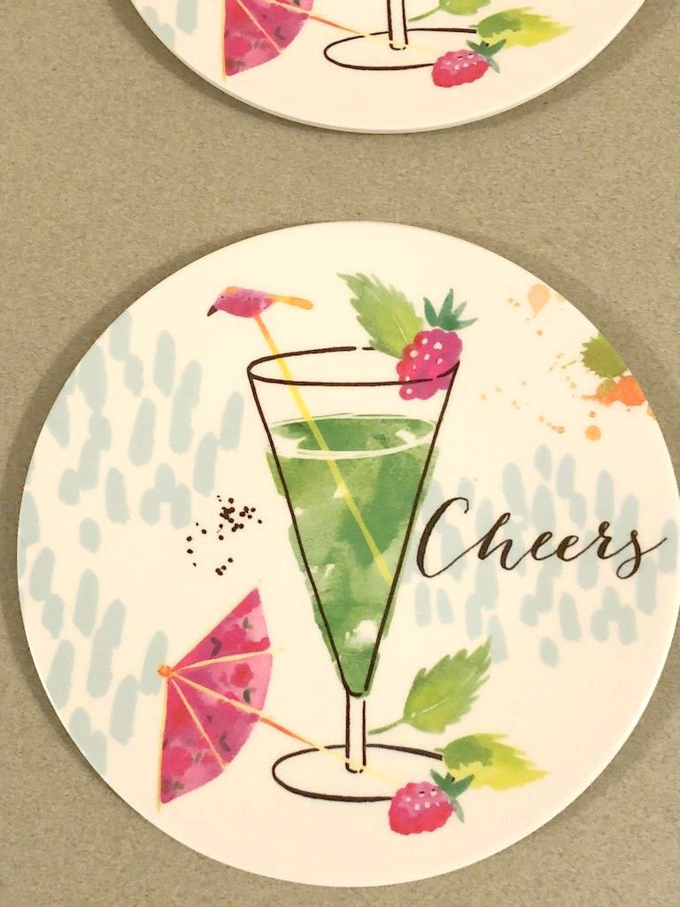 "Melamine Tidbit Appetizer Dessert Plates 6"" Set of 4 Beach House CHEERS Mojito"