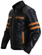Cafe Racer Retro Black Vintage Distressed Biker Quilted Leather Jacket image 4