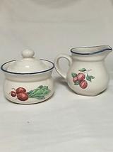 Pfaltzgraff Summer Garden Blue Rim White Creamer & Sugar Bowl with Lid - $12.85