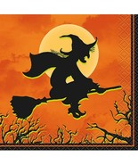 Haunted House Halloween Witch 24 Ct Beverage Cocktail Napkins - $3.55