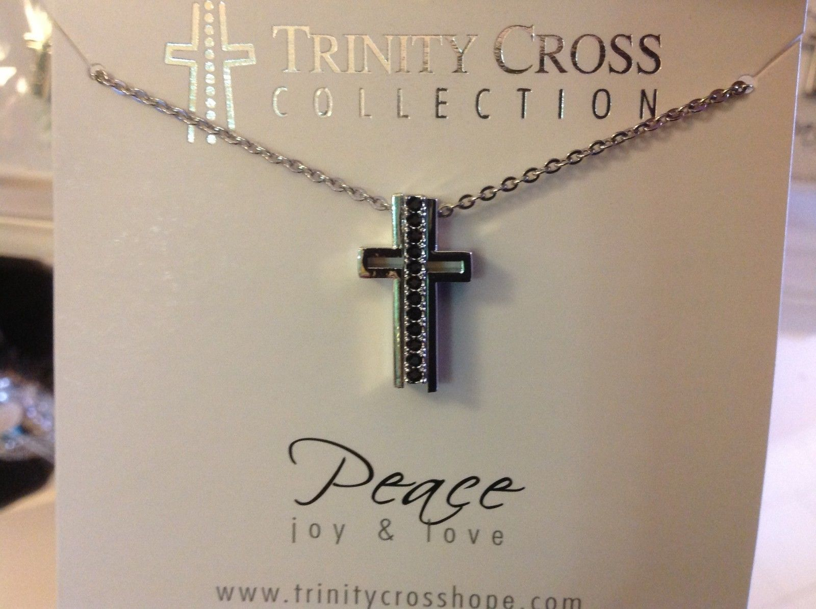 Trinity Cross pendant necklaces Peace Hope Love Faith Truth Grace Courage Wisdom